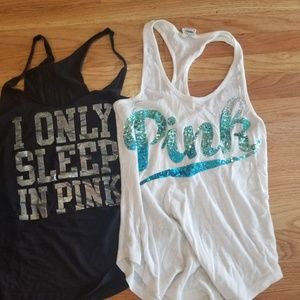 2 Pink Victoria's secret tanks